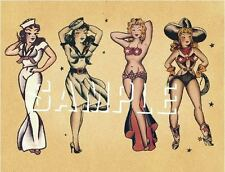 CANVAS PRINT TATTOO  PIN UP GIRLS COWGIRL SAILOR BELLY DANCER FLASH VINTAGE ART