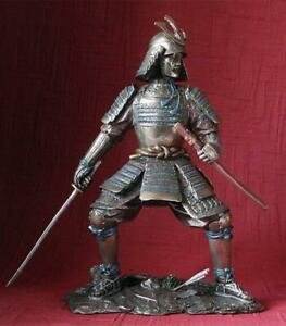 Bronze Effect Samurai Sculpture Japanese Style Warrior Statue Veronese Design