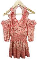 Seed Heritage Size 6 Boho Red Floral Beach Cold Shoulder Short Dress