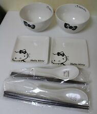 New Hello Kitty Small Dish & Soup Bowl & Chopsticks & Chinese soup spoon x 2