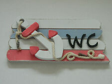 SHABBY CHIC WC SIGN BATHROOM  ANCHOR ROPE NAUTICAL BEACH SEASIDE