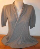Worthington Women's Sweater Wrap Cardigan Solid Gray Short Sleeve Size Small