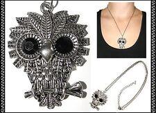 Necklace~Silver~Black Diamante Eyes~Wisdom~Wise ~Owl Pendant Charm