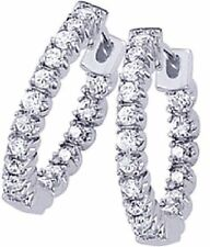 9.30 carat Round Diamond 14k White Gold Hoop Earrings 56 diamonds,1.75 inch,