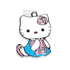 HK11// BRELOQUE CHARM PERLE / HELLO KITTY STRASS BLEU / CREATION BIJOUX BRACELET