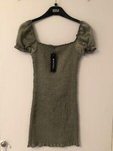 BNWT motel rocks satin khaki mini dress size small