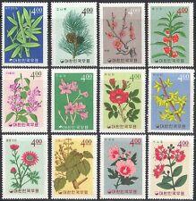 Corea 1965 Pine Cone/Rosa/Ciruela/Bambú/Lila/plantas/Naturaleza/Flores 12v Set n41862