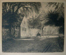 Sigvard Hansen, etching. Old houses and chickens October 1902