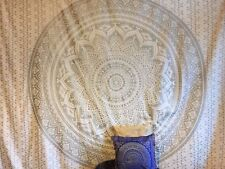 Glittering Silver Ombre Mandala Cotton Twin Size Tapestry Bohemian Wall Hanging