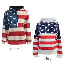bandera EEUU Estampado Mujer Sudadera Con Capucha Informal De Suéter Deporte