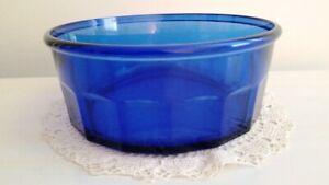 Arcoroc France Cobalt Blue Serving Bowl Paneled Sides