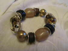 Silver Tone Brown & Multicoloured Varied Bead Elasticated Bracelet