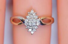 Vintage Women's 10K Yellow/White Gold .20 Ct Diamond Cluster Ring Size 7.25