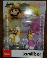 Cat Mario & Peach Amiibo Double Pack Super Mario NEW USA Seller Switch 3DS MINT