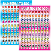 Numbers 1 to 100 Posters Educational Kids Children Classroom School Nursery (A3)