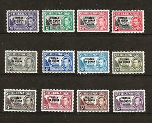 TRISTAN DA CUNHA (Y-034) 1952 SG1-12 ST HELENA O/PRINTS SET OF 12 VERY FINE UMM