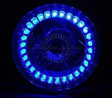 "5-3/4"" Blue LED Angel Eye Motorcycle Halo Projector Headlight Turn Signal Light"