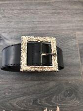 Vivienne Westwood mens black belt gold picture frame buckle 36' w 90 cm vintage