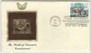 1997 World of Dinosaurs Camarasaurus Gold Foil FDC First Day Cover