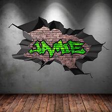 Couleur Complète Personnalisé 3d Nom en Graffiti Cracked Art Mural Autocollantde