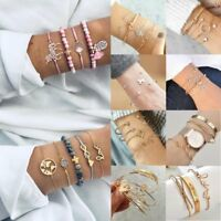 3/4/5pcs Fashion Boho Women Gold Plated Heart Beads Bracelet Jewelry Cuff Bangle