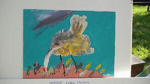 WOODIE LONG EARLY WORK FOLK ART 1991 ACRYLIC ON PAPER