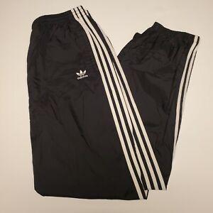 Vintage Adidas Size Large Nylon Swishy Track Pants Black 1/4 Zip Up/Down 90s