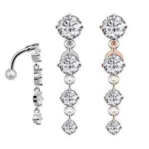 Women Surgical Steel Belly Button Bar Crystal Dangle Navel Ring Body Piercing