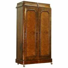 STUNNING VICTORIAN COLLINGE'S BURR WALNUT DOUBLE WARDROBE WITH DRAWERS CUPBOARD