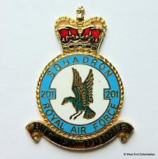 RAF 201 Squadron DANBURY MINT Blank Badge -24ct Gold Plate 1970s Royal Air Force