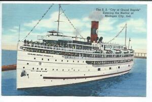 Michigan City IN Indiana Linen Postcard Steamship City of Grand Rapids