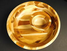 Acacia Wood Chip & Dip Serving Bowls Hors d'oeuvres Set Multi Color Browns