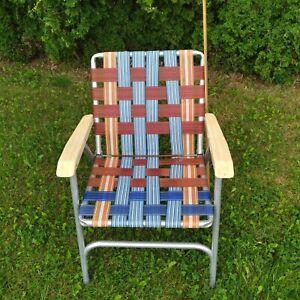 Vintage Folding Lawn Pool Yard Chair Vinyl Straps Multi-color Webbing Aluminum