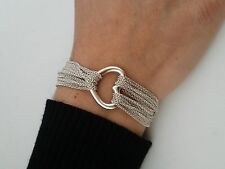 Tiffany & Co. Sterling Silver Heart Mesh Multi Strand Toggle Bracelet