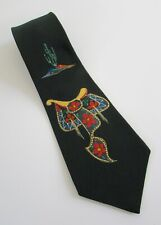 Vtg 60's Hand Painted Southwest Rockabilly Saddle & Cactus Tie Penney'sTowncraft