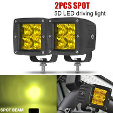 3inch 24W 5D LED Work Light Cube Pods Amber Spot Offroad Fog Driving Truck ATV