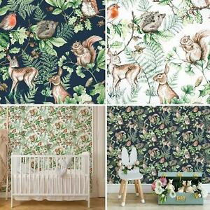 Woodland Animals Wallpaper Nature Forest Leaves Trees Navy Green Natural Matt