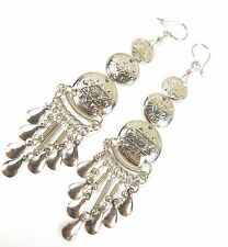 PERU ETHNIC STARS SUN MOON EARRINGS HANDMADE INCA SILVER COLOURED 4 g 10.5 CM