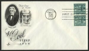 #1059 4 1/2c The Hermitage-Pair, Art Craft-Addressed FDC ANY 5=