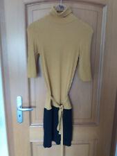 Minikleid Strickkleid Philippe Matignon GR S/M oker / schwarz mit Rollkragen