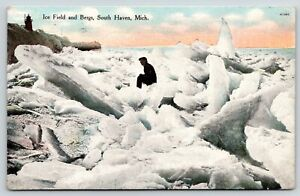 South Haven Michigan~Fellow Climbs on Ice Field & Icebergs~Lighthouse~1909