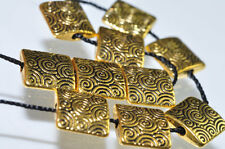 10 Pieces 10x3mm 22K GOLD PLATED PEWTER Fancy Spiral Square Bead Pendant P0554