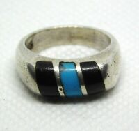 Taxco Mexico Sterling Silver Ring Turquoise and Black Onyx Inlay 925 Size 7.25
