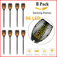 8pcs 96 LED Solar Powered Tiki Torch Flickering Flame Light Outdoor Garden Lamp