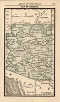1888 Antique ARIZONA Map RARE MINIATURE Vintage Map of Arizona State Map 8239