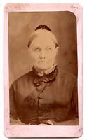 Real Photo-Small Cabinet Card-Older Woman-Black Dress & Hair Topper- c.1865