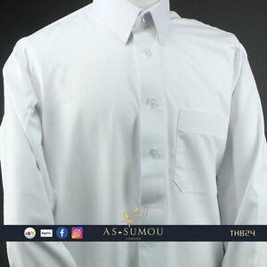 Classic White Qatari Pleated Thobe Khaleeji Jubbah Mens Kandora Eid Outfit Arab