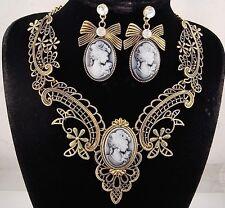 necklace set antique gold bronze metal lace bow black cameo vintage style FIOJ
