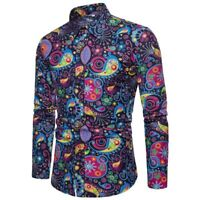 Long sleeve men's tops luxury floral formal casual slim fit dress shirt t-shirt