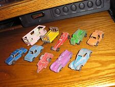 Lot B of 10 Vintage Tootsie Toy Cars Dump Truck Dragster Hot Rod Camping Trailer